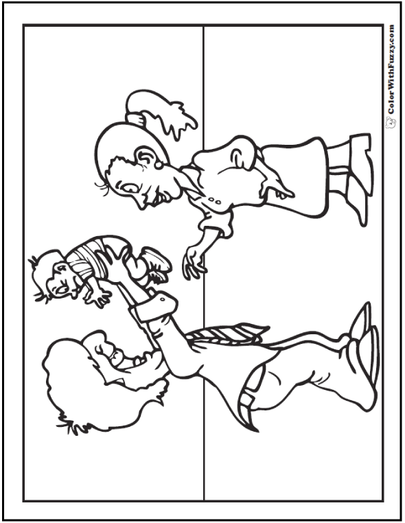 590x762 New Father's Day Coloring Page Dad, Mom, And Baby