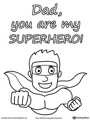 300x400 Father's Day Card You Are My Superhero Worksheets, Superhero
