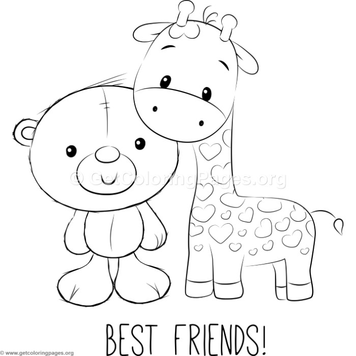 700x700 Cute Bear And Giraffe Coloring Pages