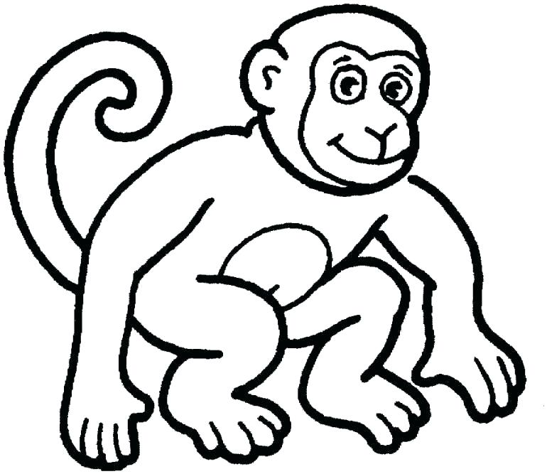 770x667 Coloring Book Monkey Plus Cartoon Humorous Illustration Of Cute
