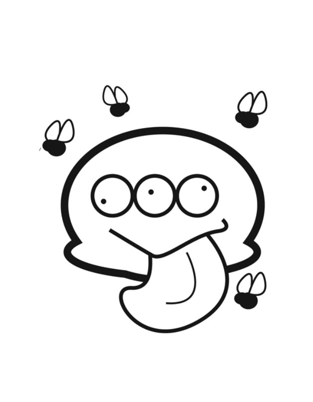 630x810 Funny Monster With Flies Coloring Page