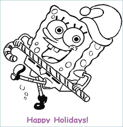 520x537 Spongebob Squarepants Christmas Gifts Coloring Page