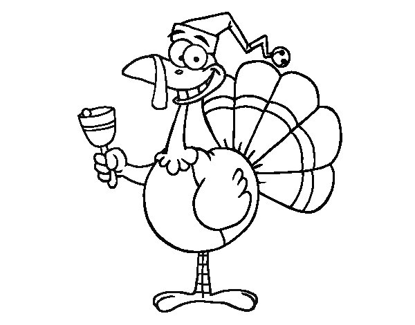 600x470 Funny Turkey Coloring Page