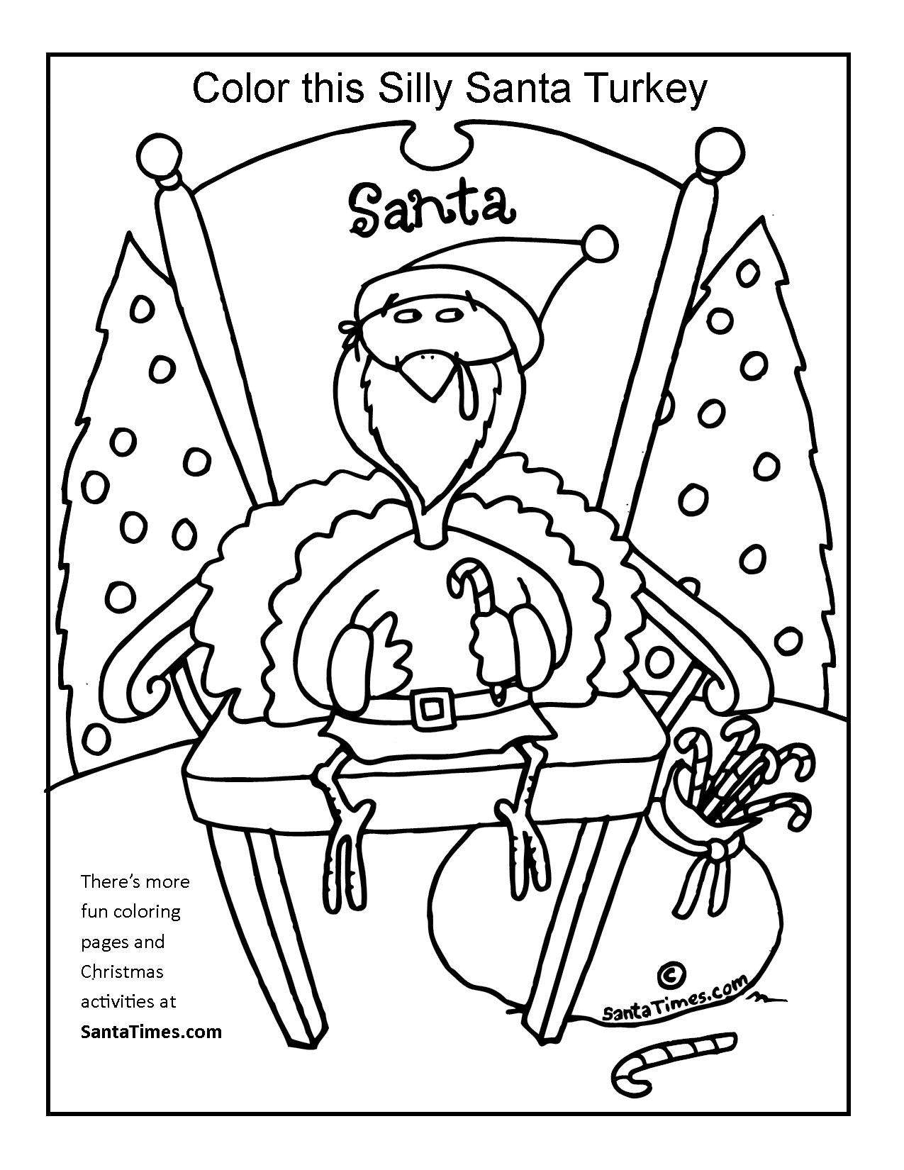 1275x1650 Silly Santa Turkey Coloring Page