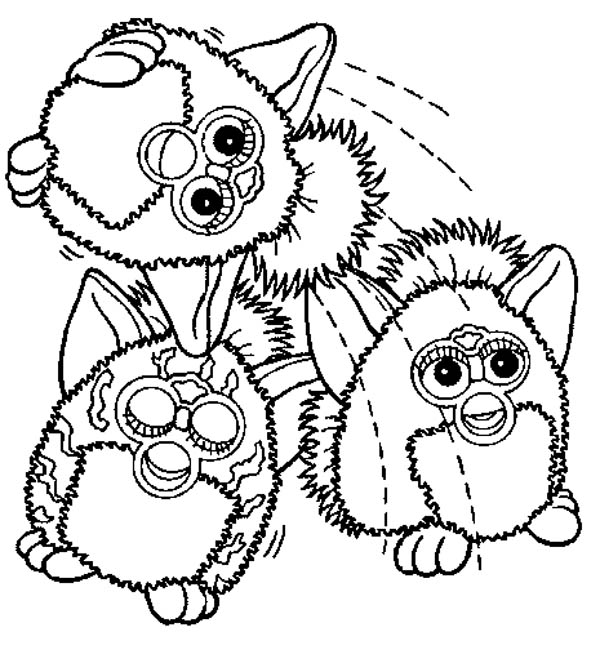 600x663 Three Furby Having Fun Coloring Pages Batch Coloring