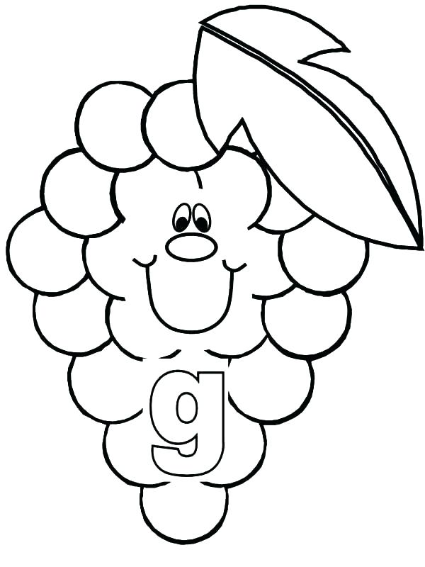 600x800 Grapes Coloring Pages G Coloring Page Grapes For Smiling Letter G