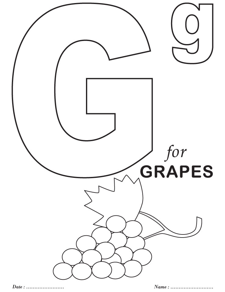 738x954 Printable Letter G Coloring Page Grapes