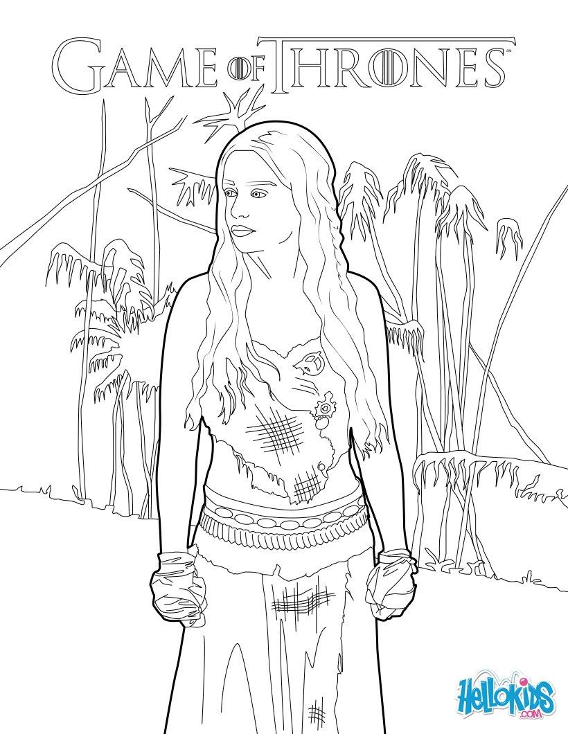 820x1060 Game Of Thrones Princess Daenerys Targaryen Coloring Pages