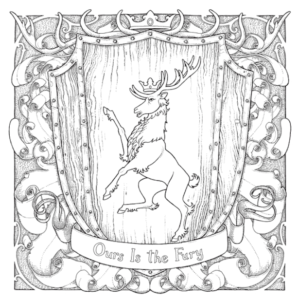 615x618 Game Of Thrones Coloring Book Baratheon Color Me Pretty Got