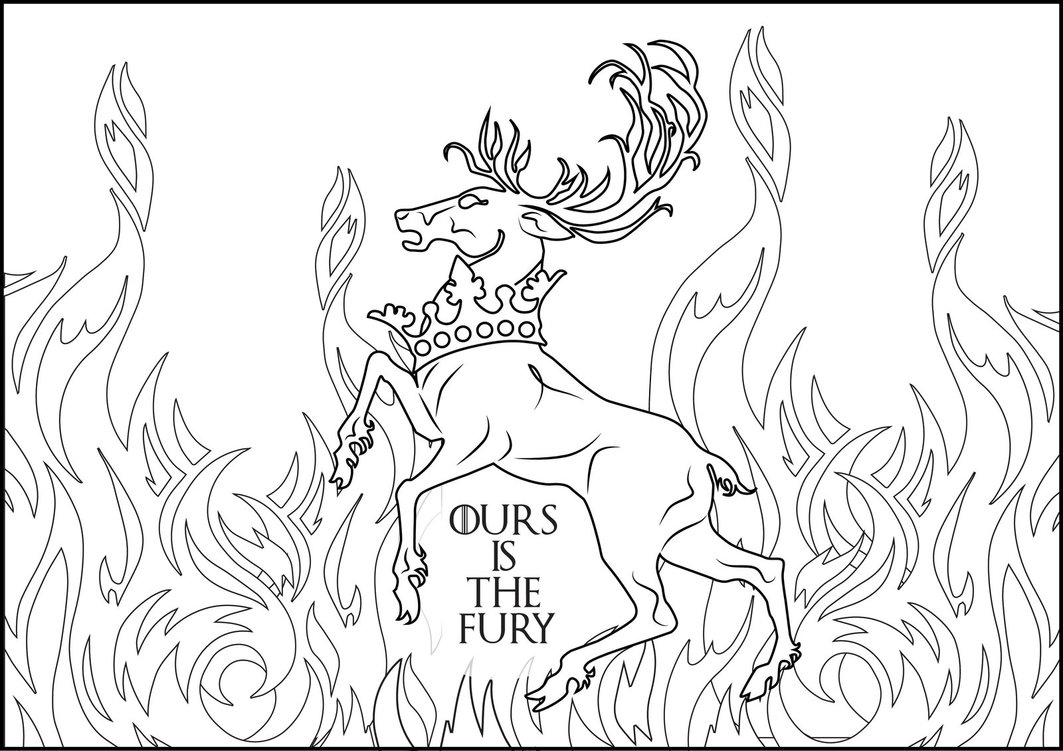1063x751 First Rate Game Of Thrones Coloring Pages Baratheoon Ours Is