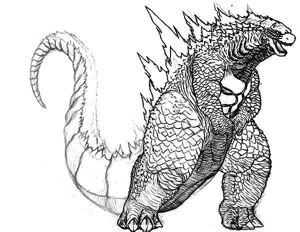 600x464 Godzilla, Big Fat Godzilla Coloring Pages Lineart Godzilla
