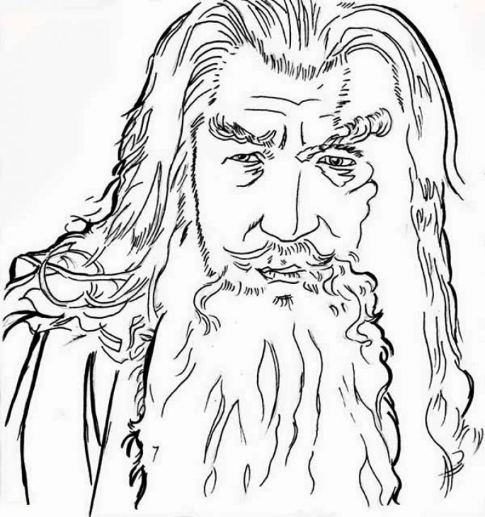 685x730 A Closeup Gandalf Sketch From Lord Of The Rings Coloring Page