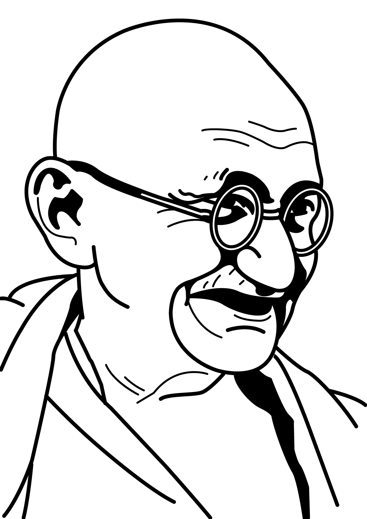 1240x1754 How To Draw Mahatma Gandhi Face Easily Mahatma Gandhi Coloring
