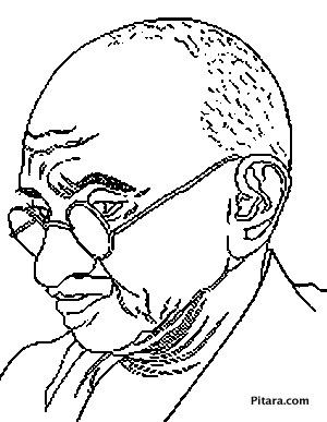 300x387 Mahatma Gandhi Coloring Page Pitara Kids Network