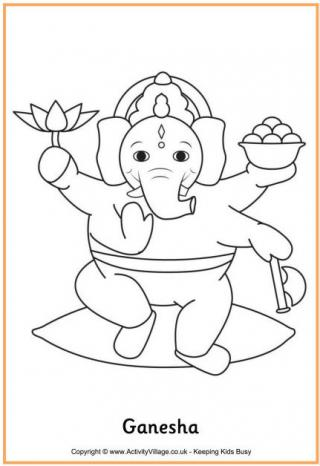 320x466 Diwali Colouring Pages