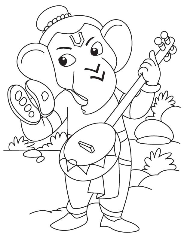 612x792 Lord Ganesha With Sitar Coloring Page Download Free Lord Ganesha