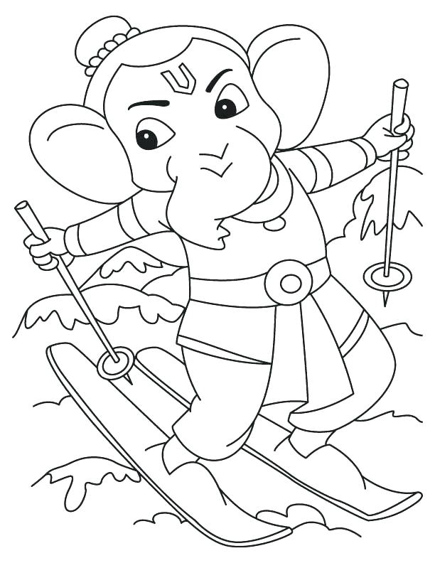 612x792 Picture Of Ganesha For Coloring Simple Drawing For Kids Ganesh