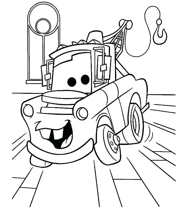 600x681 Mater Coloring Page Tow Mater In The Garage Coloring Pages Mater