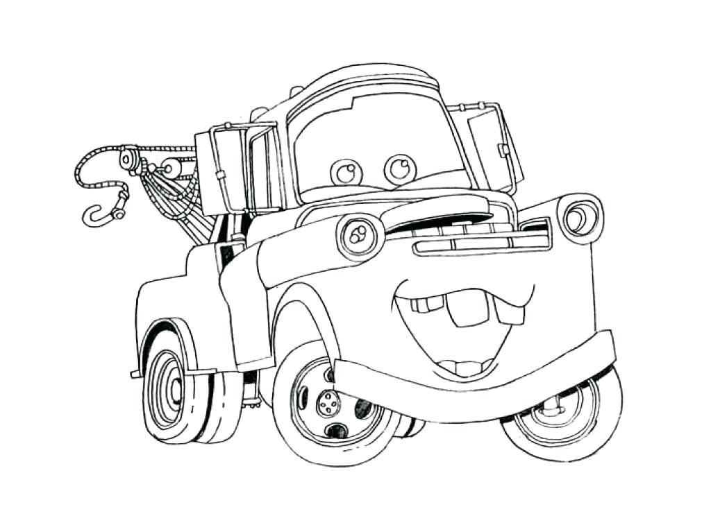 1024x731 Mater Coloring Pages Tow Mater In The Garage Coloring Pages Maters