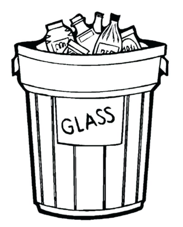 600x743 Garbage Can Glass Only For Recycling Coloring Page Coloring Sky