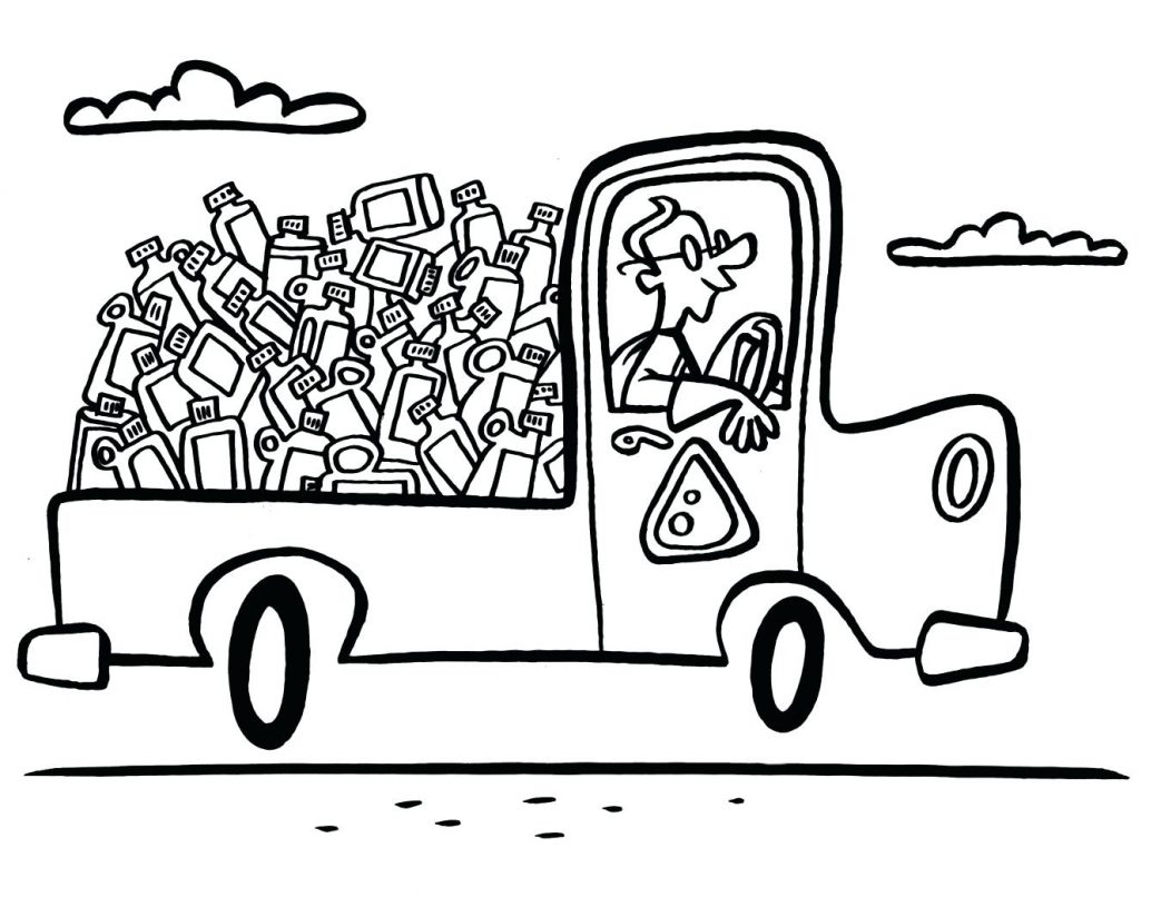 1043x806 Garbage Truck Coloring Pages The Watershed University Learn