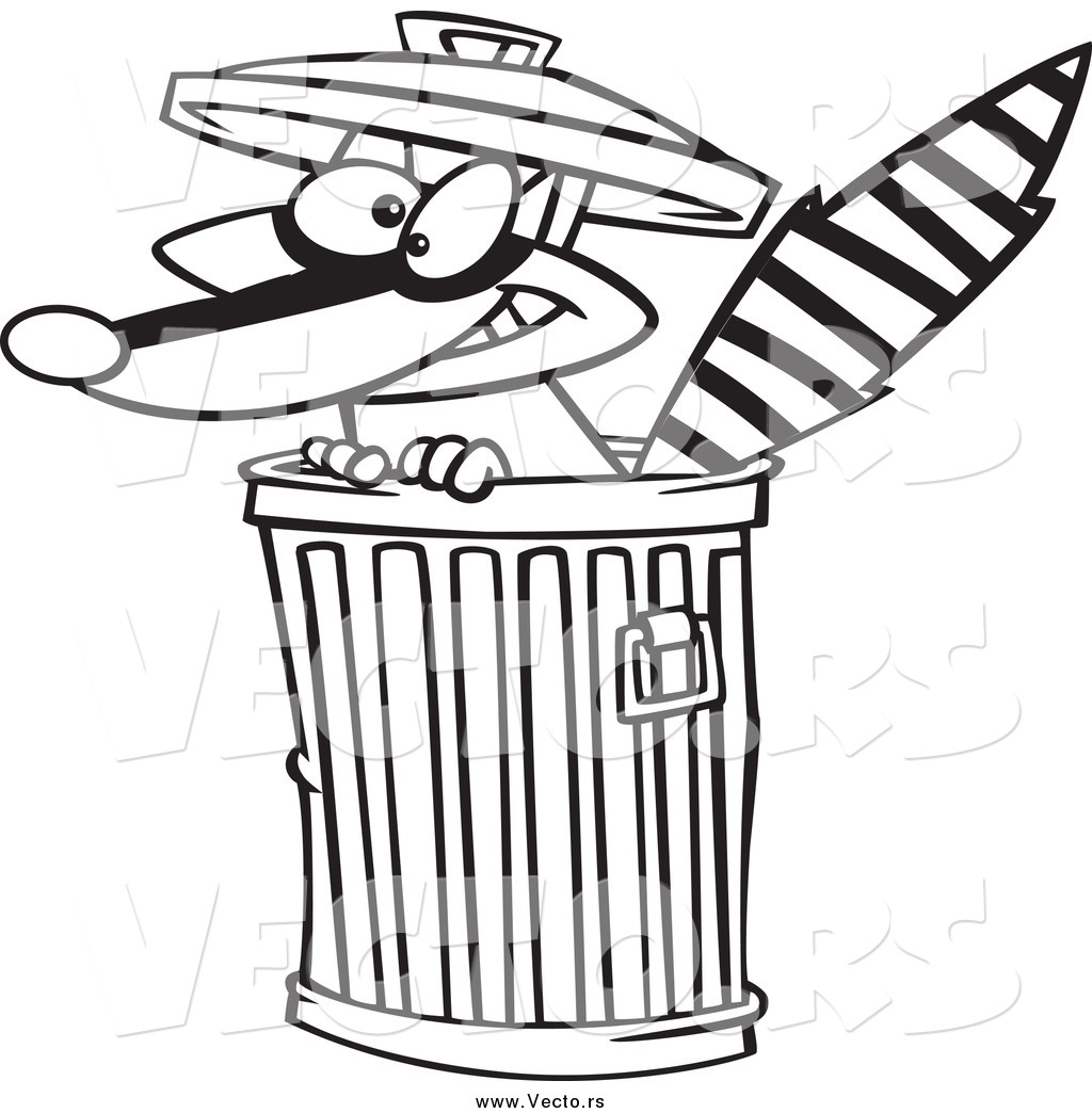 1024x1044 Vector Of A Black And White Raccoon In A Trash Can