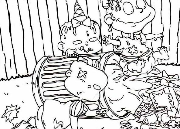 593x425 Garbage Can Coloring Page The Rugrats Is Dirty They Play