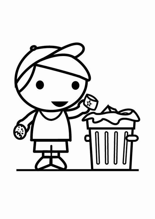 531x750 Coloring Page Garbage In The Trash Can
