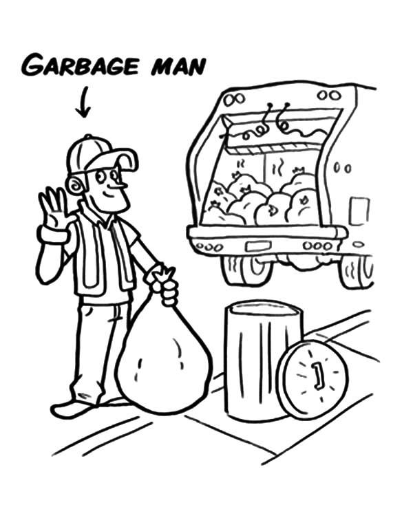 600x753 Garbage Man Garbage Truck Coloring Pages Garbage Man