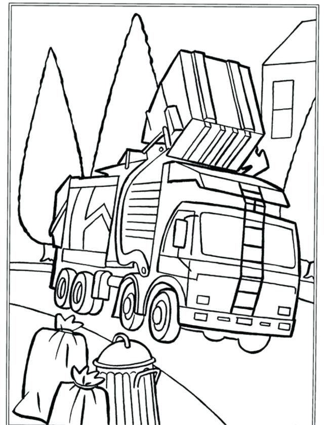 640x839 Dump Truck Coloring Pages Garbage Truck Printable Coloring Pages