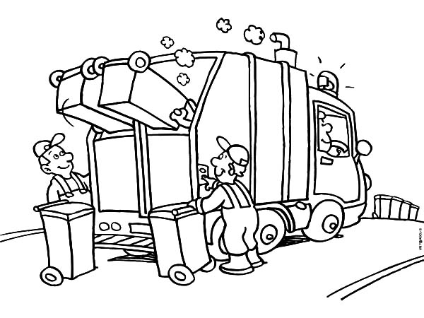600x450 Garbage Truck Daily Activity Coloring Pages