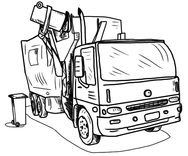 600x498 Loading Garbage Truck Coloring Pages
