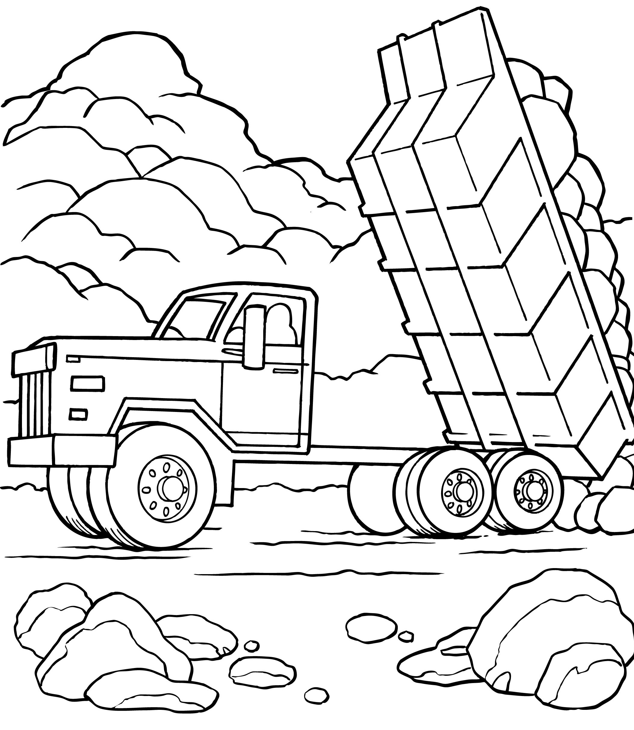2107x2426 Largest Preposition Coloring Pages Dump Truck