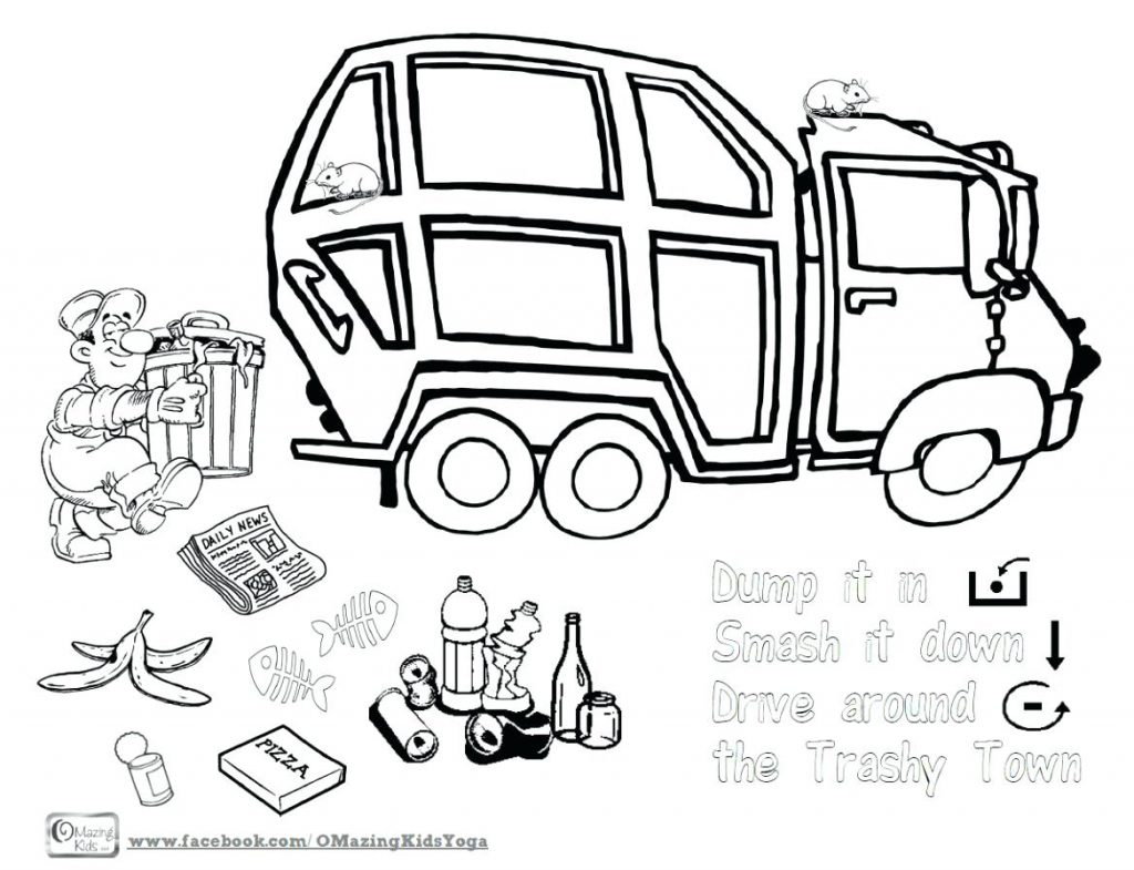 1024x785 Coloring Pages Garbage Truck Coloring Page In Grave Digger Pages