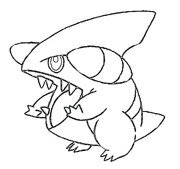 600x563 Garchomp Coloring Pages Coloriage De Pokemon Carchacrok