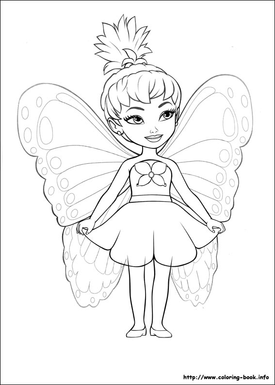 567x794 Barbie Mariposa Coloring Picture