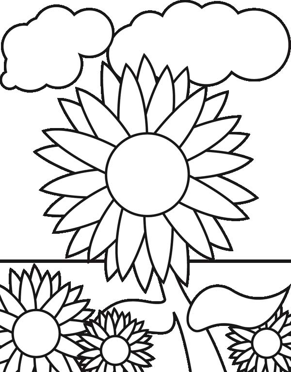 600x767 Sunflower Garden Coloring Page