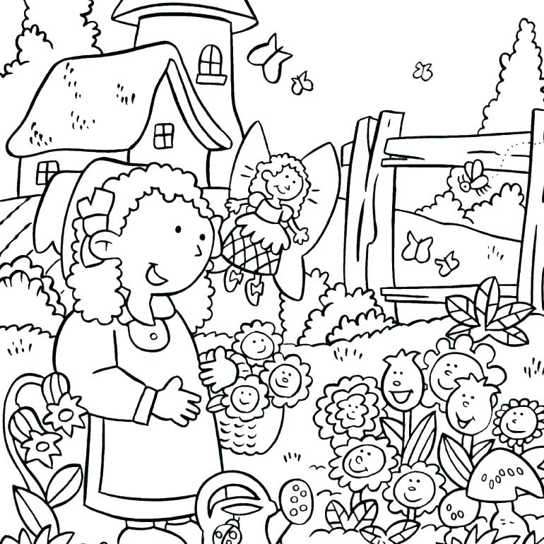 770x770 Flower Garden Coloring Page Flower Garden Coloring Pages As Well