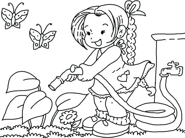 600x450 Garden Coloring Page Gardening Watering Flower With Hose Gardening