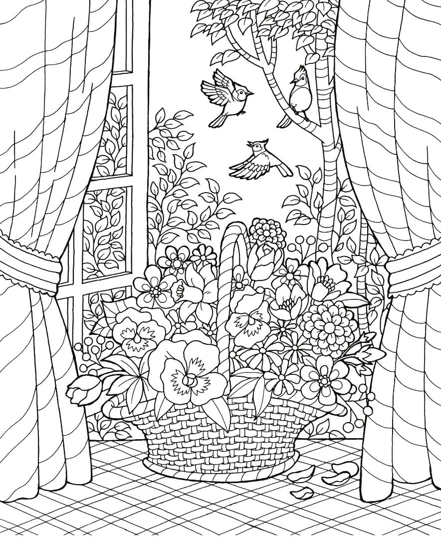 884x1080 Blissful Scenes Adult Coloring Book Scene, Adult