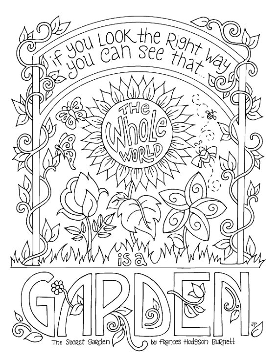 570x738 Secret Garden Coloring Page Frances Hodgson Burnett