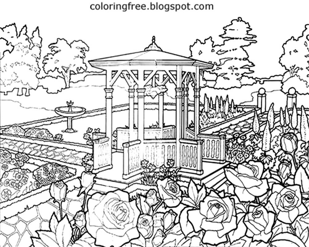 1000x800 Garden Coloring Page