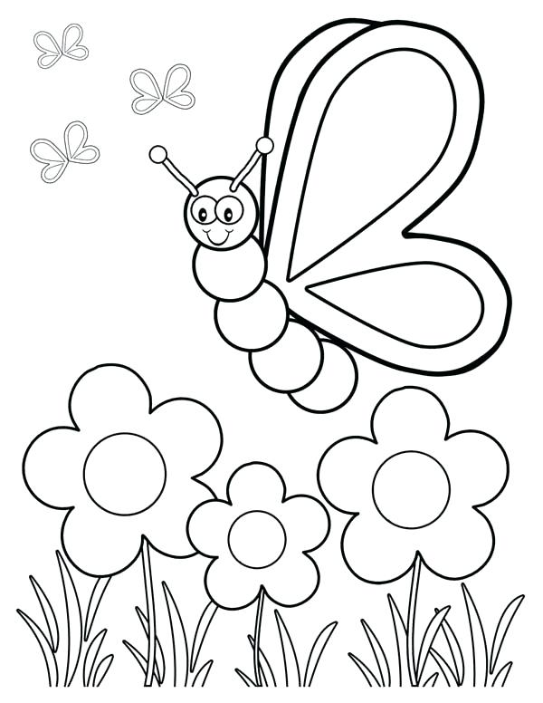 600x776 Garden Coloring Pages Friendly Butterfly In The Garden Coloring