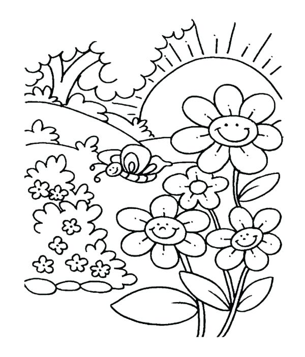 600x702 Spring Printable Coloring Pages Spring Flower In Garden Coloring