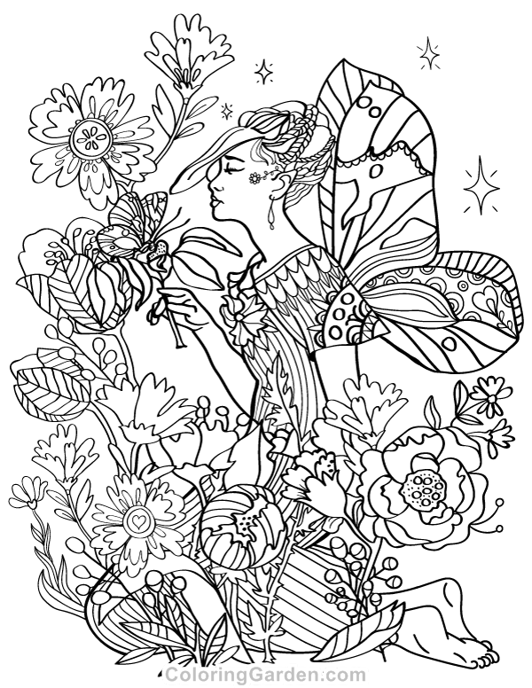 600x776 Fairy Adult Coloring Page