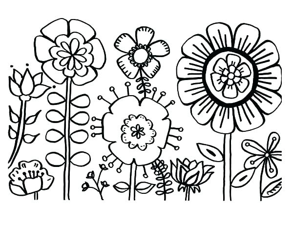 600x463 Flower Coloring Pages Printable Lovely Floral Coloring Pages