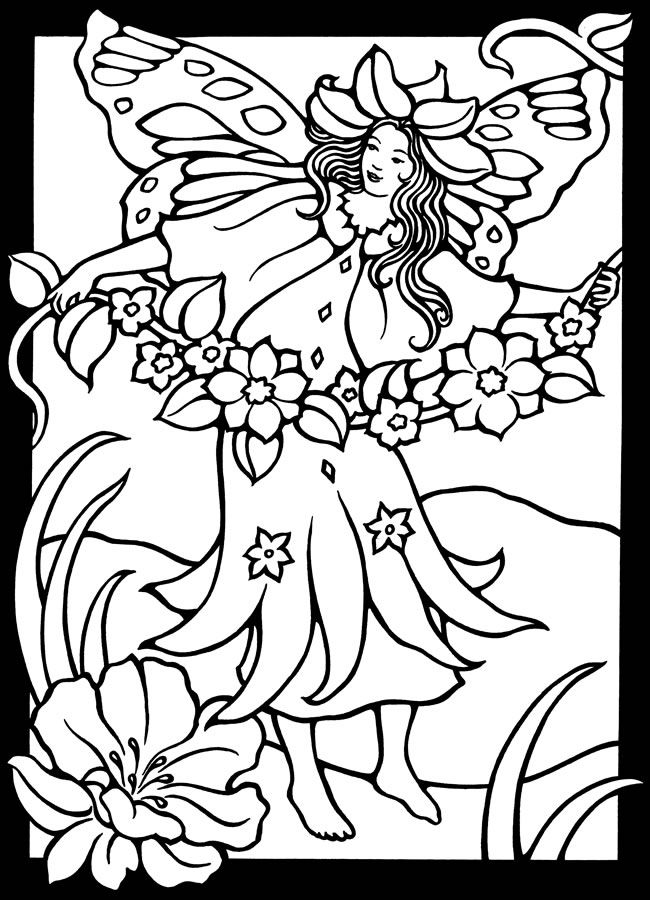 650x900 Magic Garden Fairies Stained Glass Coloring Book Dover Coloring