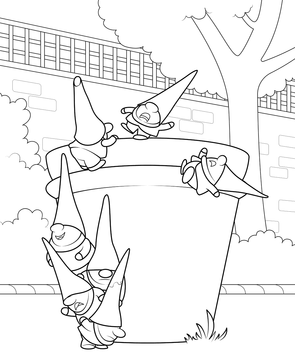 1024x1226 Garden Gnomes Coloring Page