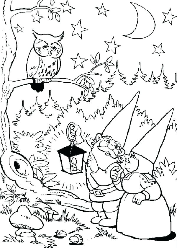 600x840 Gnome Coloring Pages Gnome Home Free Printable Adult Coloring Page