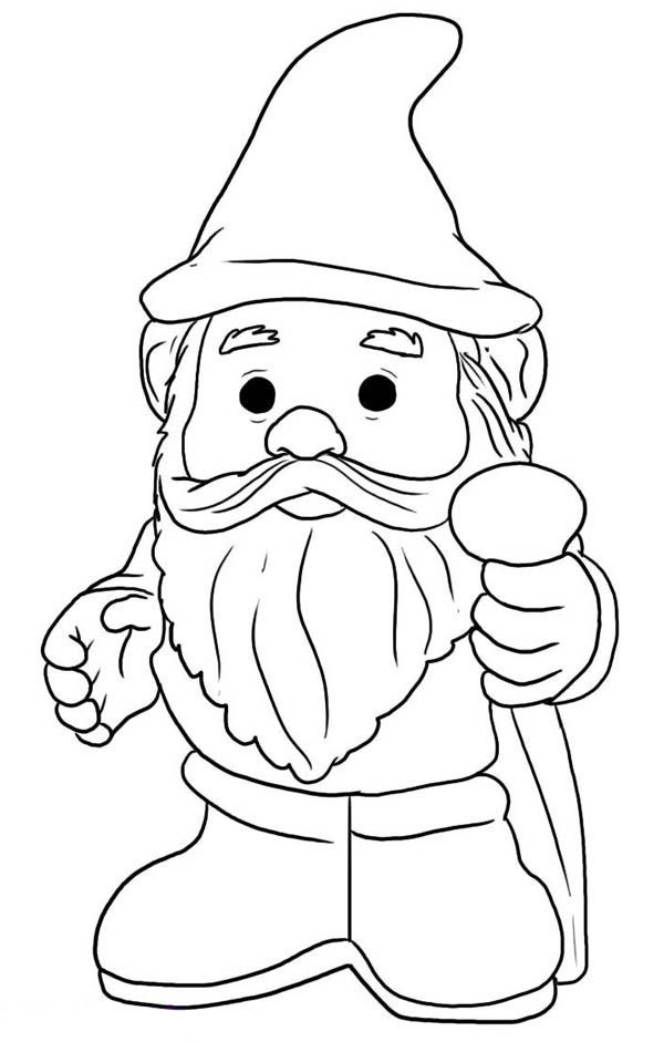 600x941 Gnome With Pointy Hat Coloring Page Woodland Creatures